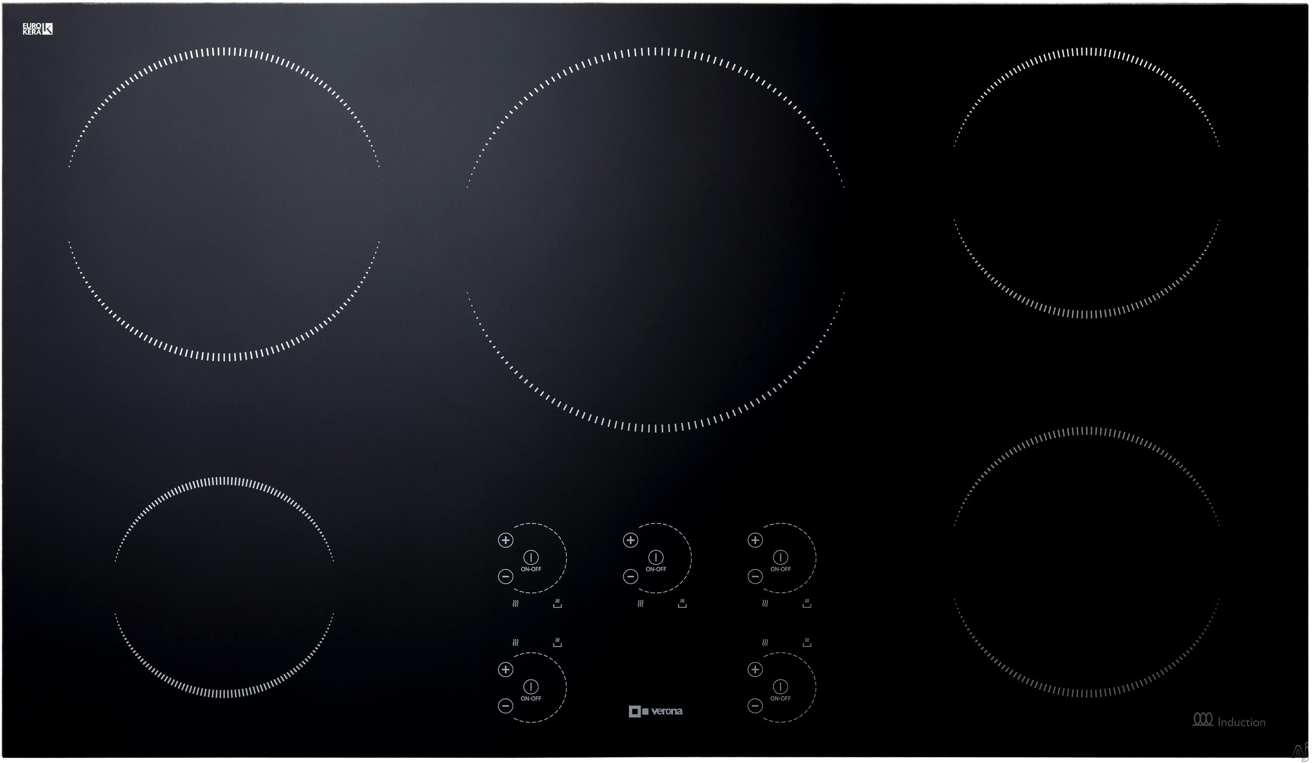 Verona VECTI365 36 Inch Induction Cooktop with 5 Heating Elements, Black Ceramic Glass, Booster and Fast Boil Function, Crescent Touch Controls, Hot Surface and Residual Heat Indicator, Audible Alarm,