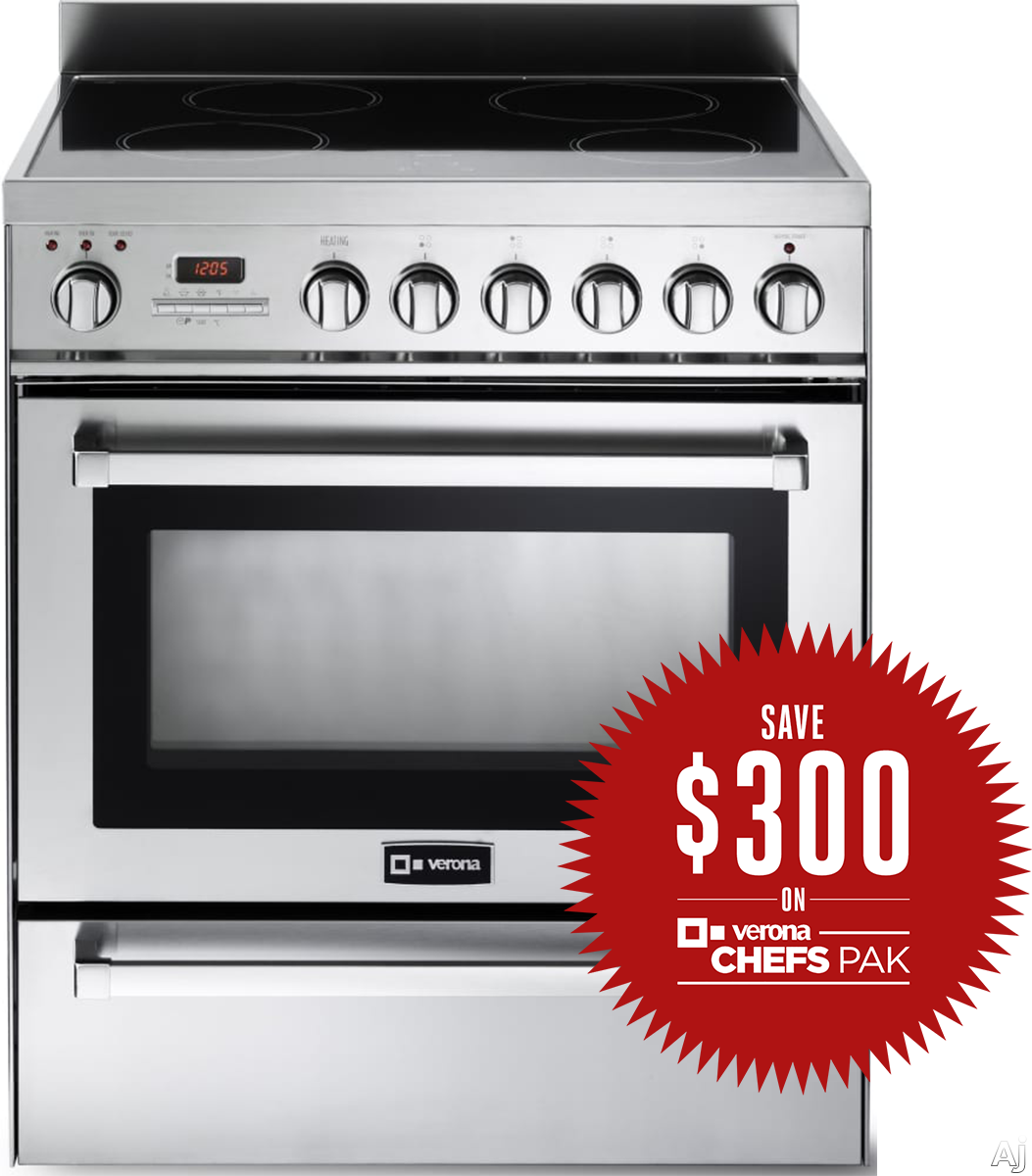 """Verona VEFSIE304PSS 30"""" Freestanding Induction Range with 4 Cooking Zones, 3.6 cu. ft. Convection Oven, Warming/Slow Cooking Drawer and Self-Cleaning Feature"""