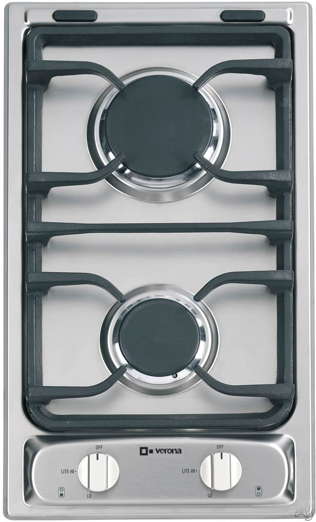 Verona VECTG212FDS 12 Inch Gas Cooktop with 2 Sealed Burners, Electronic Ignition and Porcelain Grates: Stainless Steel