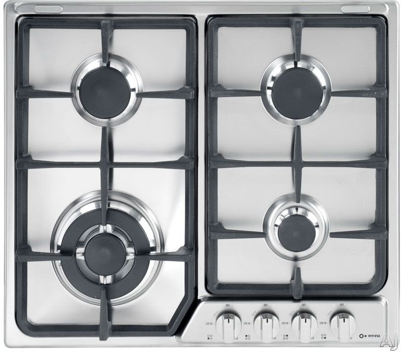 """Verona VEGCT424FSS 24"""" Gas Cooktop with 4 Sealed Burners, Continuous Cast Iron Grates, Electronic Ignition, Flame Failure Safety Device, LP Conversion Kit, Stainless Steel Design and Optional Trim Ring"""
