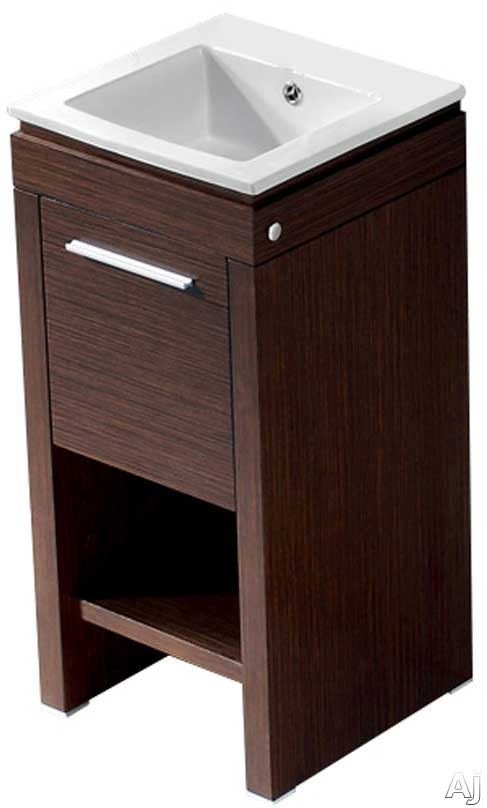 Vigo Industries VG09010118K1 16 Inch Aristo Modern Vanity with Swinging Door Cabinet, Soft Closing Hardware, White Ceramic Sink and Mounting Hardware Included: Wenge