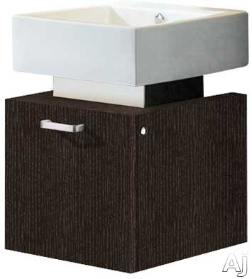 Vigo Industries VG09011104K1 19 Inch Modern Wall-Mount Vanity with One Large Door Cabinet, Soft Closing Hardware, White Ceramic Sink and Mounting Hardware Included: Wenge