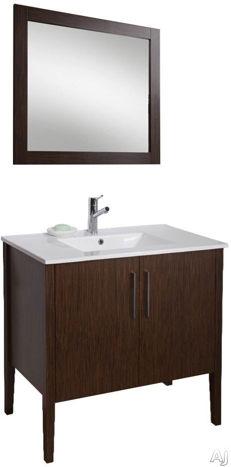 Vigo Industries Maxine Collection VG09041 36 Inch Contemporary Vanity with Soft Close Cabinet Doors White Ceramic Single Hole Sink Matching Mirror Chrome Finished Handles and One Concealed Shelf