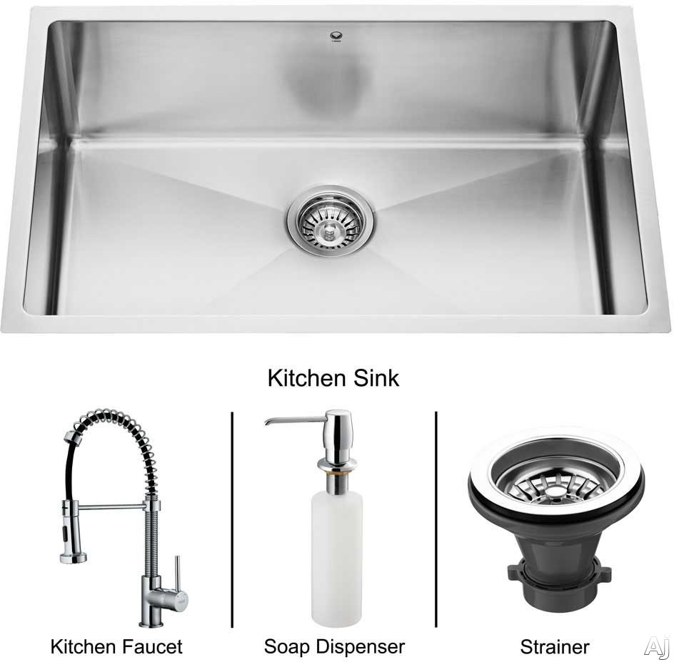 Vigo Industries Platinum Collection VG15021 30 Inch Undermount Single Bowl Stainless Steel Sink Combo with 9 7 8 Inch Bowl Depth 16 Gauge Pull Out Faucet Soap Dispenser and Strainer