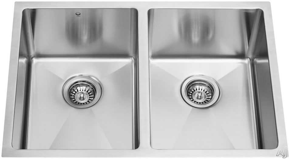 Vigo Industries Platinum Collection VG15028 29 Inch Undermount Double Bowl Stainless Steel Sink Combo with 9 7 8 Inch Bowl Depths 16 Gauge Pull Down Faucet Soap Dispenser and 2 Strainers
