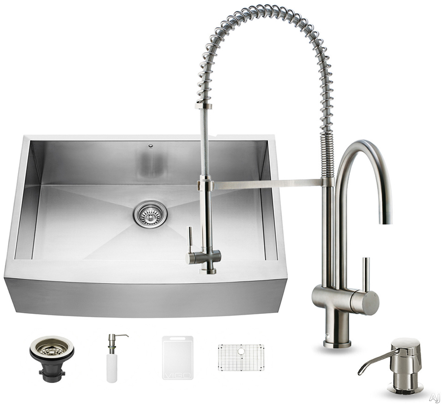 Vigo Industries VG15125 33 Inch Farmhouse Stainless Steel Kitchen Sink with 9 7/8 Inch Bowl Depth, 16-Gauge, Stainless Steel Faucet Set, Bottom Grid, Strainer and Soap Dispenser