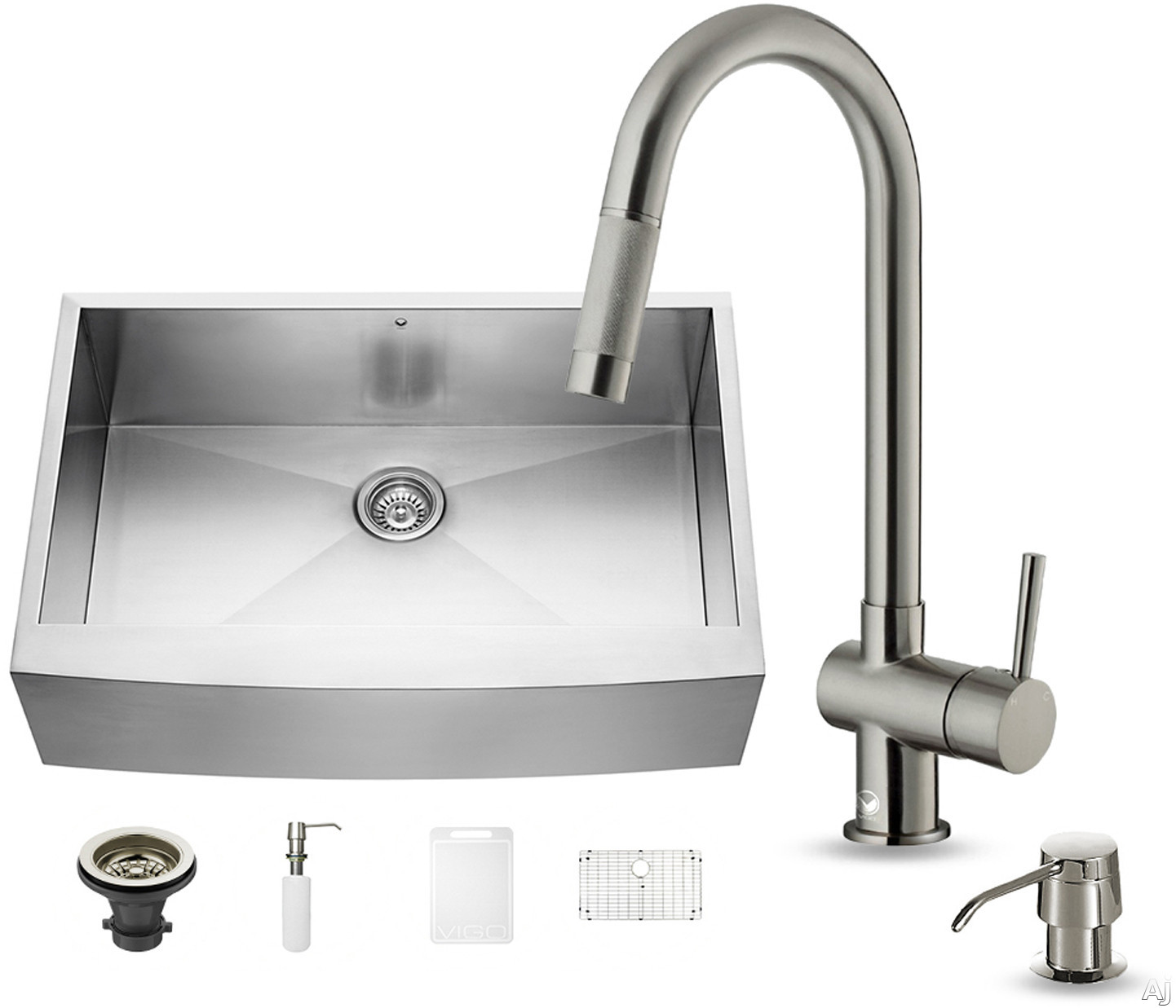 Vigo Industries VG15127 33 Inch Farmhouse Stainless Steel Kitchen Sink with 9 7/8 Inch Bowl Depth, 16-Gauge, Stainless Steel Faucet Set, Bottom Grid, Strainer, Soap Dispenser and ADA Compliant