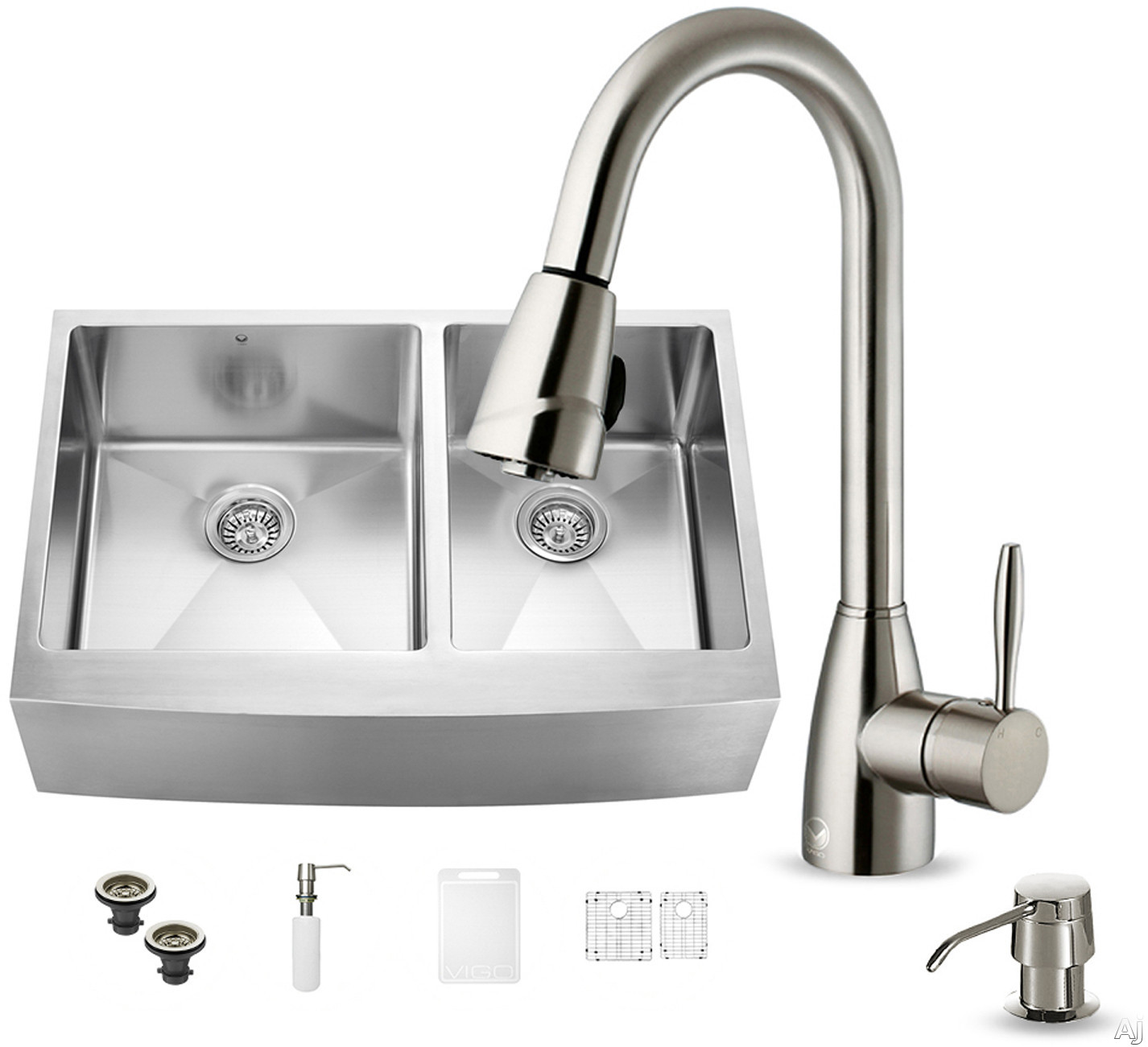 Vigo Industries VG15215 33 Inch Farmhouse Stainless Steel Double Bowl Kitchen Sink with 9 7/8 Inch Bowl Depths, 16-Gauge, Stainless Steel Faucet Set, Bottom Grids, Strainers and Soap Dispenser