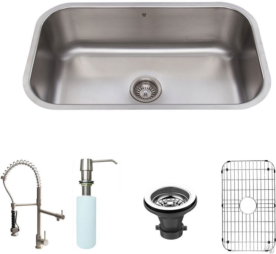 Vigo Industries VG15282 30 Inch All-in-One Undermount Kitchen Sink Set with 9 1/4 Inch Basin Depth, 18-Gauge, Stainless Steel Dual Pull-Out/Cast Spout Faucet, Bottom Grid and Soap Dispenser