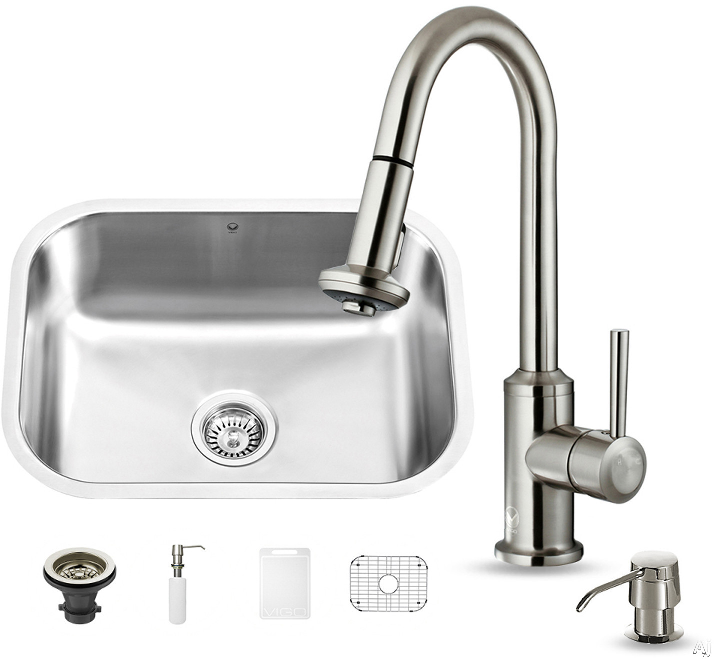Vigo Industries VG15287 23 Inch All-in-One Undermount Kitchen Sink Set with 9 Inch Basin Depth, 18-Gauge, Stainless Steel Pull-Out Faucet, Bottom Grid and Soap Dispenser