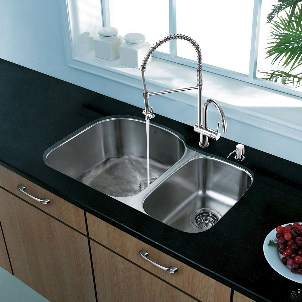 Vigo Industries VG15303 32 Inch All-in-One Undermount Kitchen Sink and Faucet Set with 9 Inch Bowl Depth, 18 Gauge, Dual Cast-Spout/Pull-Out Faucet and 2 Stainless Steel Sink Bottom Grids
