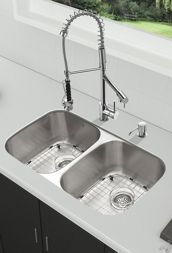 Vigo Industries VG15336 32 Inch All-in-One Undermount Kitchen Sink and Faucet Set with 9 Inch Bowl Depth, 18 Gauge, Dual Pull-Out/Cast Spout Faucet and 2 Stainless Steel Sink Bottom Grids