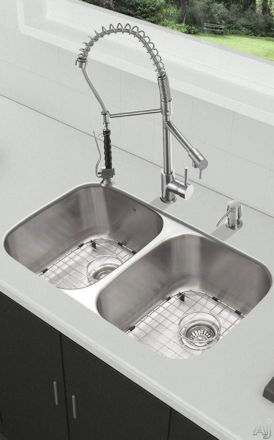 Vigo Industries VG15337 32 Inch All-in-One Undermount Kitchen Sink and Faucet Set with 9 Inch Bowl Depth, 18 Gauge, Dual Pull-Out/Cast Spout Faucet and 2 Stainless Steel Sink Bottom Grids
