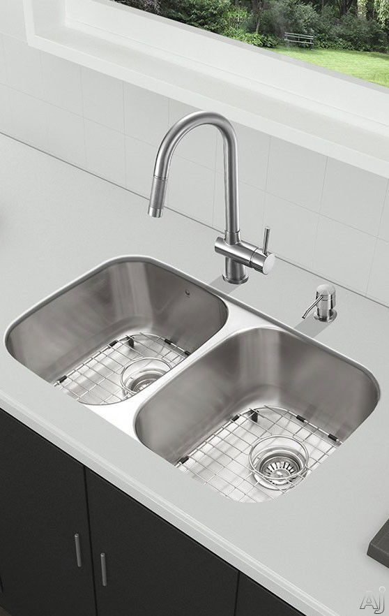 Vigo Industries VG15338 32 Inch All-in-One Undermount Kitchen Sink and Faucet Set with 9 Inch Bowl Depth, 18 Gauge, Pull-Out Faucet and 2 Stainless Steel Sink Bottom Grids