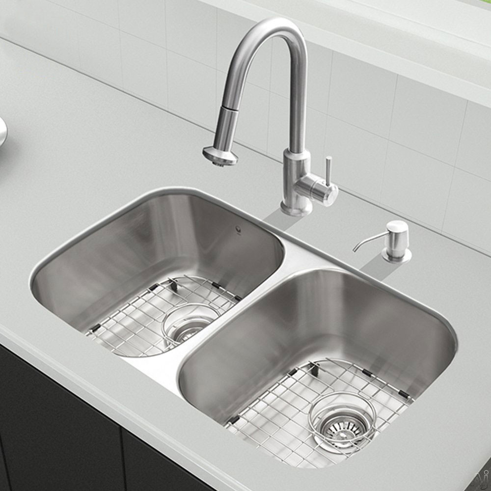 Vigo Industries VG15339 32 Inch All-in-One Undermount Kitchen Sink and Faucet Set with 9 Inch Bowl Depth, 18 Gauge, Pull-Out Faucet and 2 Stainless Steel Sink Bottom Grids
