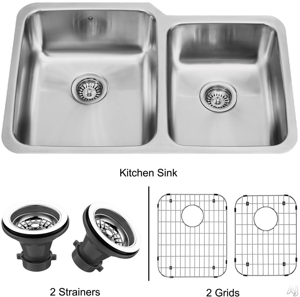 Vigo Industries Kitchen Sink Collection VG3221LK1 32 Inch Undermount Double Bowl Stainless Steel Sink with 9 1 2 Inch Large Bowl Depth 18 Gauge Sound Deadening Insulation and Mounting Hardware Included With Strainers and Grids