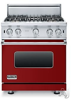 Viking 5 Series VGIC53014BAR 30 Inch Pro-Style Gas Range with 4 Open Elements, 4.0 cu. ft. Oven Capacity, ProFlo Convection Oven, Gourmet-Glo Broiler, VariSimmer Setting, Four 15,000 BTU Open Burners and SureSpark Ignition System: Apple Red