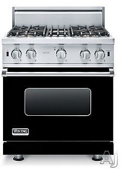 Viking 5 Series VGIC53014BBK 30 Inch Pro-Style Gas Range with ProFlowâ ¢ Convection, VariSimmerâ ¢, SureSparkâ ¢, Gourmet-Gloâ ¢ Broiler, 6 Rack Positions, 4 Open Elements, Star-K Certified, Oven Lights, Removable Door and 4.0 cu. ft.