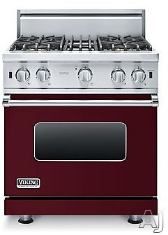 Viking 5 Series VGIC53014BBU 30 Inch Pro-Style Gas Range with ProFlowâ ¢ Convection, VariSimmerâ ¢, SureSparkâ ¢, Gourmet-Gloâ ¢ Broiler, 6 Rack Positions, 4 Open Elements, Star-K Certified, Oven Lights, Removable Door and 4.0 cu. ft.
