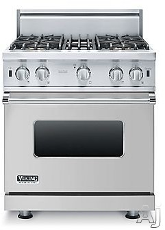 Viking 5 Series VGIC53014BSS 30 Inch Pro-Style Gas Range with ProFlowâ ¢ Convection, VariSimmerâ ¢, SureSparkâ ¢, Gourmet-Gloâ ¢ Broiler, 6 Rack Positions, 4 Open Elements, 4.0 cu. ft. Oven Capacity, Oven Lights and Removable Door: St
