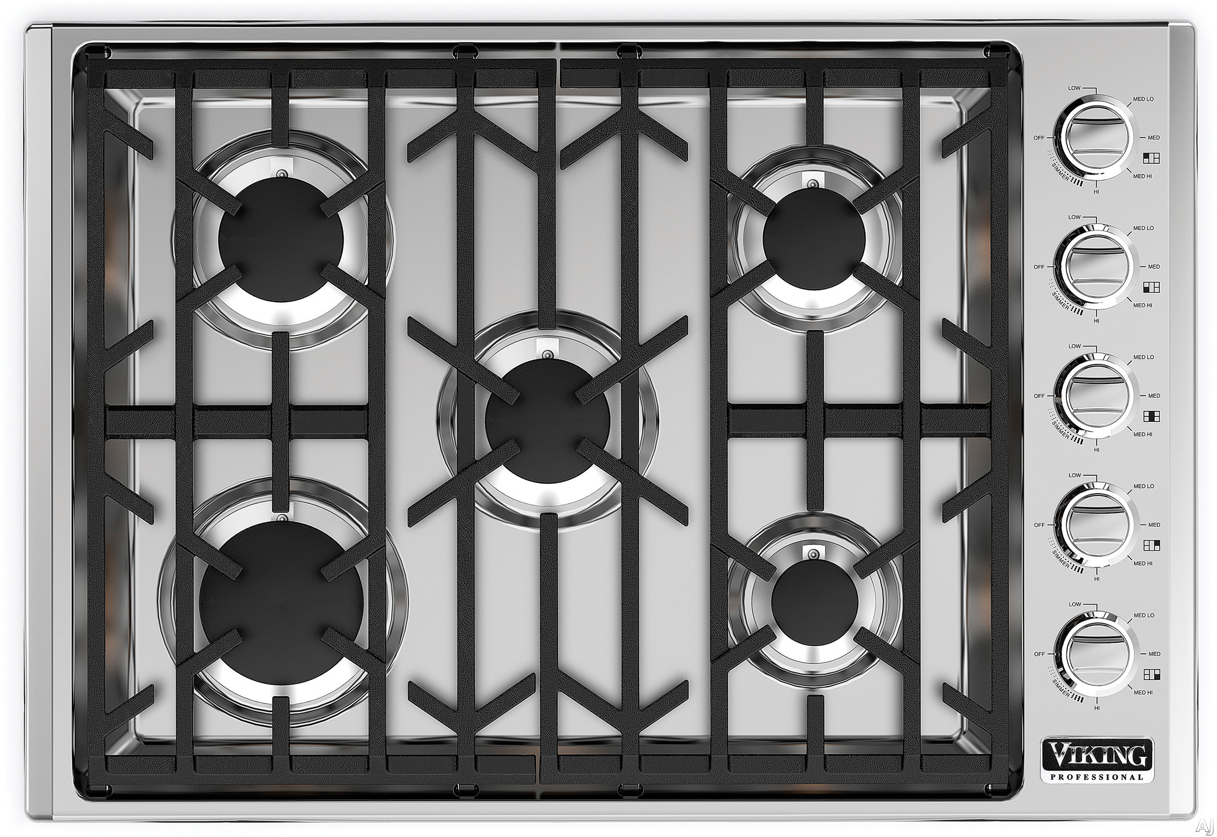 Viking Professional 5 Series VGSU5305B 30 Inch Gas Cooktop with ScratchSafeâ ¢, SureSparkâ ¢, Simmer Settings, Permanently Sealed Burners, 18,000 BTU Power Burner, Continuous Grates, Child-Proof Knob Control and Recessed Burner Pan