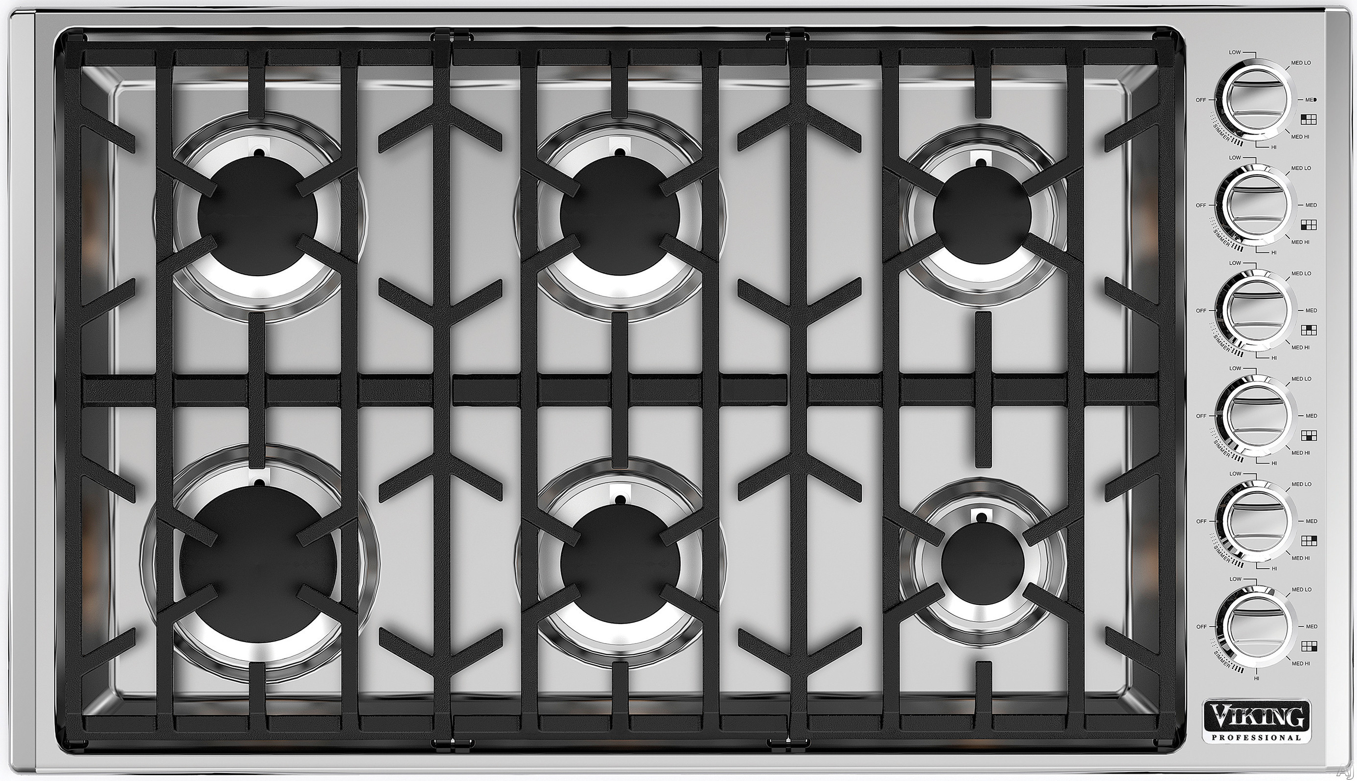Viking Professional 5 Series VGSU5366BSS 36 Inch Gas Cooktop with Continuous Grates, Child-Proof Knobs, SureSpark Ignition, 6 Sealed Burners and 18,000 BTU: Natural Gas