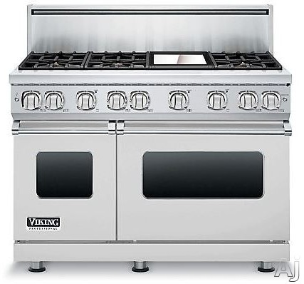"Viking Professional 7 Series VGR7486GSSLP 48"" Pro-Style Gas Range with 6 Viking Elevation Sealed Burners, VariSimmers, ProFlow Convection Oven, Manual Clean, iDevices Meat Thermometer and Reversible Grill/Griddle: Stainless Steel, Liquid Propane"
