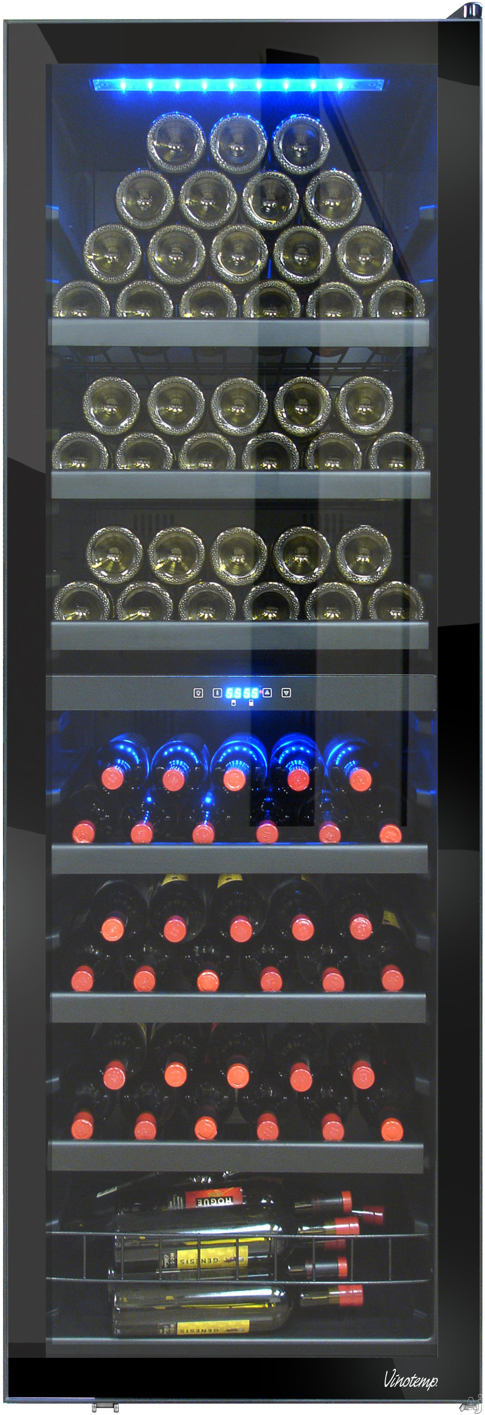 Vinotemp Butler Series VT140RV2ZL 24 Inch Wine Cooler with 154 Bottle Bottle Capacity Dual Temperature Zones Soft Interior LED Lighting 6 Pull Out Shelves and Bulk Storage Left Hinge