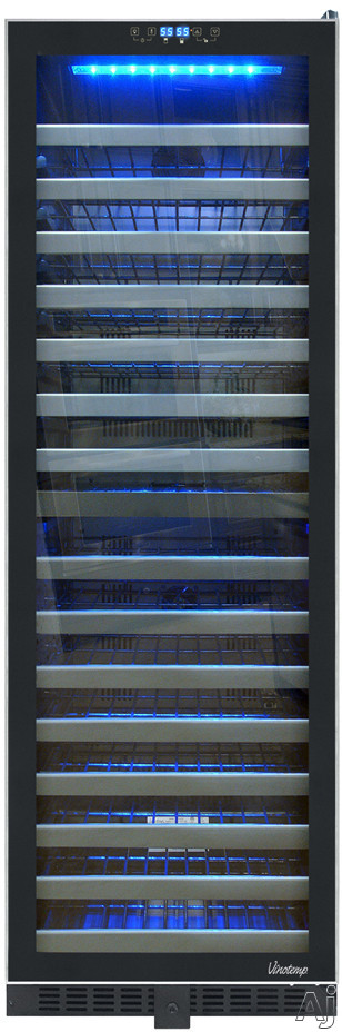 Vinotemp Butler Series VT145TSST2Z 24 Inch Wine Cooler with 142 Bottle Capacity Designed for Built In or Freestanding Installation Dual Temperature Zones Interior Lighting and Silent Mode