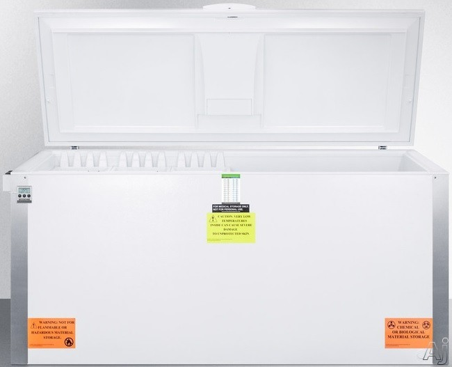 Picture of AccuCold VLT2250 220 cu ft Freestanding Laboratory Chest Freezer with Manual Defrost Capable of -35 Degrees C Operation Alarm Temperature Display Lock and Casters