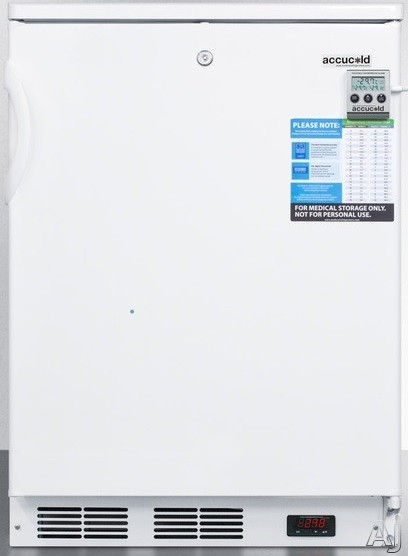 AccuCold VLT650 4.0 cu. ft. Counter-Depth Laboratory Upright Freezer with Manual Defrost, Capable of -35 Degrees C Operation, Alarm, Temperature Display, Lock and Casters