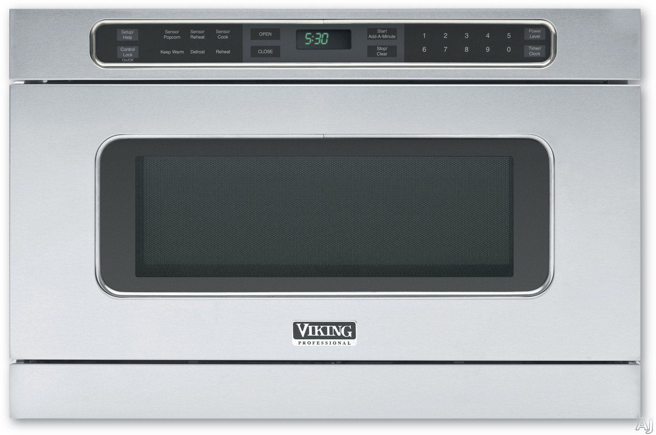 Viking Professional Series VMOD241SS Undercounter DrawerMicro Microwave Oven with 1 cu. ft. of Capacity, 11 Sensor Settings, Warm/Hold Features, Add-a-Minute, Digital LCD Display, Automatic Open/Close Drawer and Child Safety Lock
