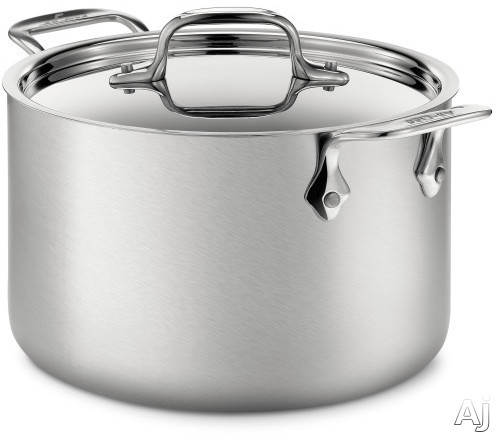 Image of All Clad BD552043 4-Quart d5 Brushed Stainless Steel Stock Pot with 5-Ply Stainless Steel, Polished Surface, Stainless Steel Handles, Induction Suitable, Oven Safe, Dishwasher Safe, Limited Lifetime Warranty and Made in USA
