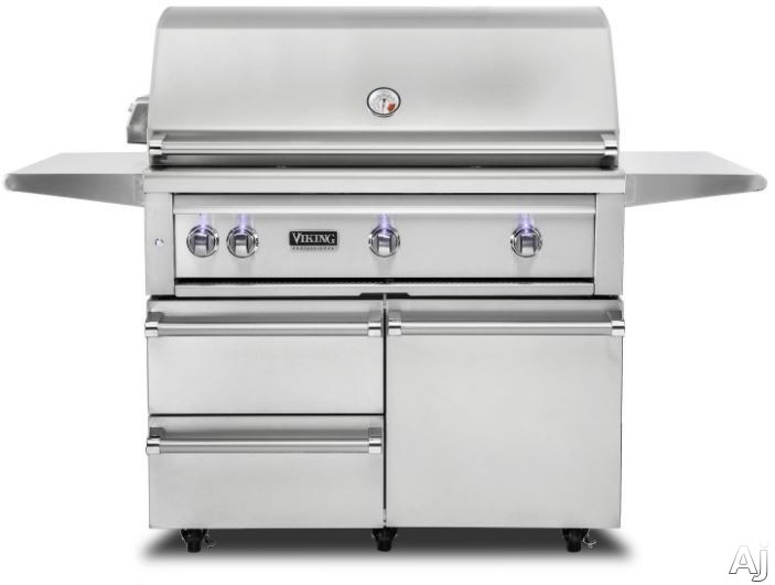 """Viking Professional 5 Series VQGFS5420LSS 42 Inch Freestanding Gas Grill with ProSear 2â""""¢ Burner, Rotisserie, Smoker Box, Blue LED Knobs, Halogen Grill Lights, Ceramic Briquettes, Temperature Gau"""