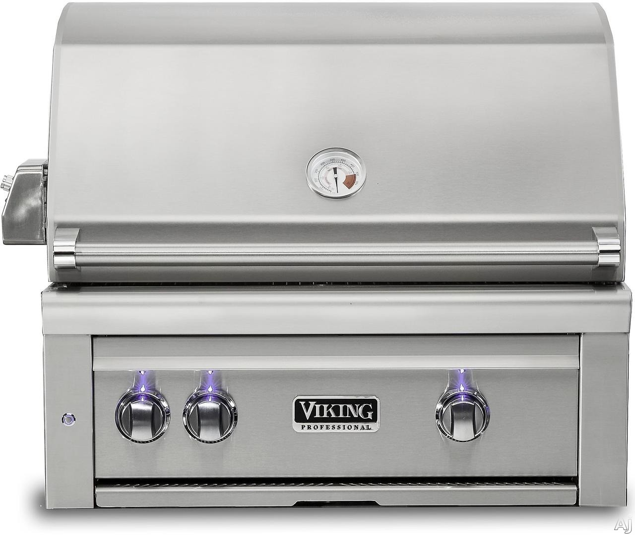 "Viking Professional 5 Series VQGI5300LSS 30 Inch Built-In Grill with ProSear 2â""¢ Burner, Rotisserie, Blue LED Knobs, Halogen Grill Lights, Smoker Box, Temperature Gauge, Ceramic Briquettes and 84"