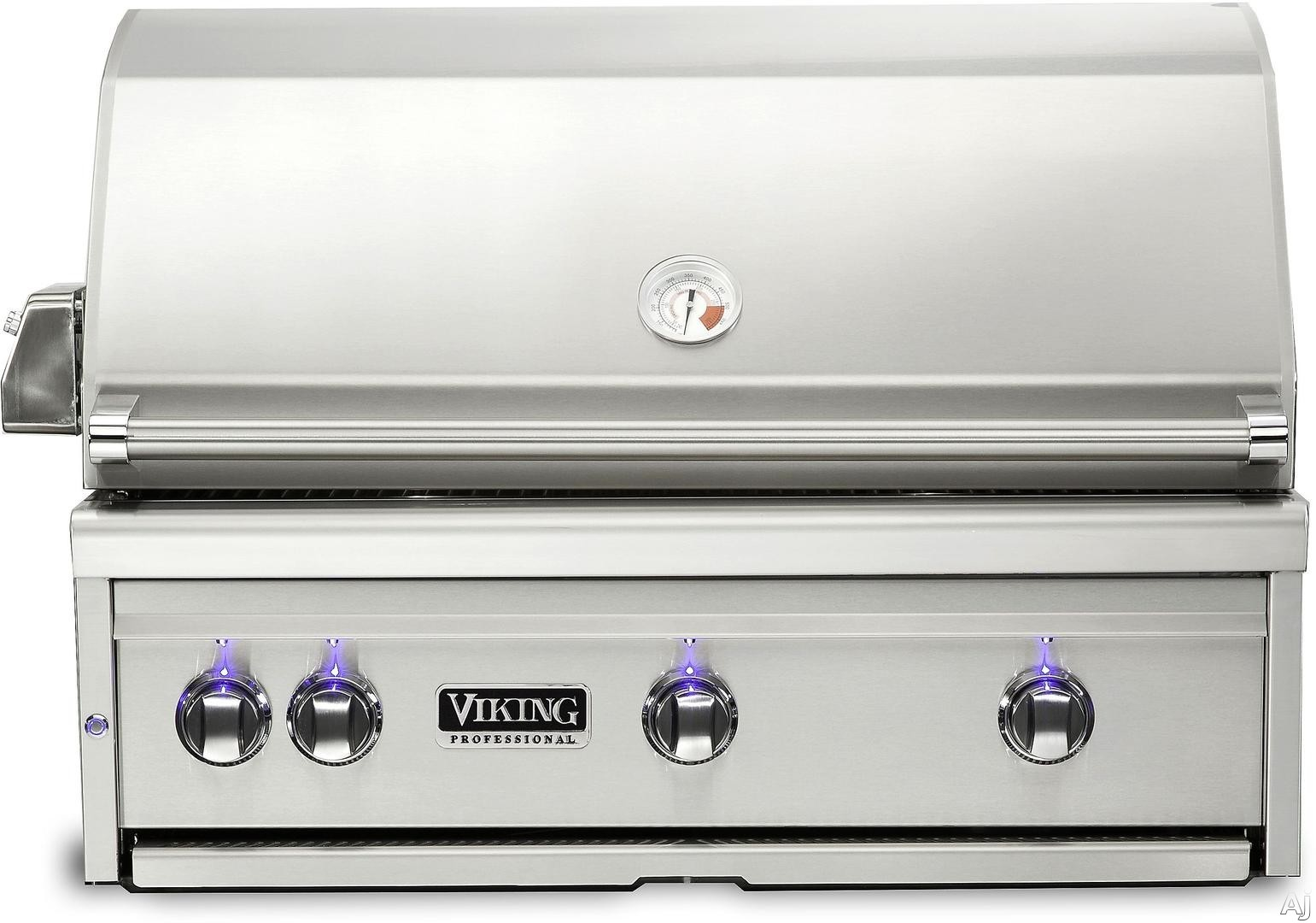 Viking Professional 5 Series VQGI5360LSS 36 Inch Built In Grill with ProSear Burner, Rotisserie, Smoker Box, Blue LED Knobs, Halogen Grill Lights, Ceramic Briquettes, Temperature Gauge, 3 Burners and