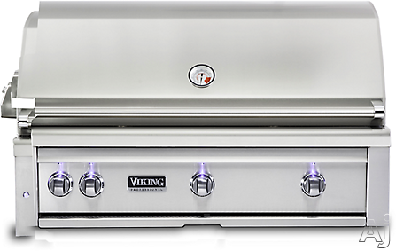 Viking Professional 5 Series VQGI5420LSS 42 Inch Built-In Grill with ProSear Burner, Rotisserie, Smoker Box, Blue LED Knobs, Halogen Grill Lights, Ceramic Briquettes, Temperature Gauge, 3 Burners and