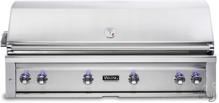 Viking Professional 5 Series VQGI5540LSS 54 Inch Built-In Grill with ProSear Burner, Rotisserie, Smoker Box, Blue LED Knobs, Halogen Grill Lights, Ceramic Briquettes, Temperature Gauge and 1,200 sq. i
