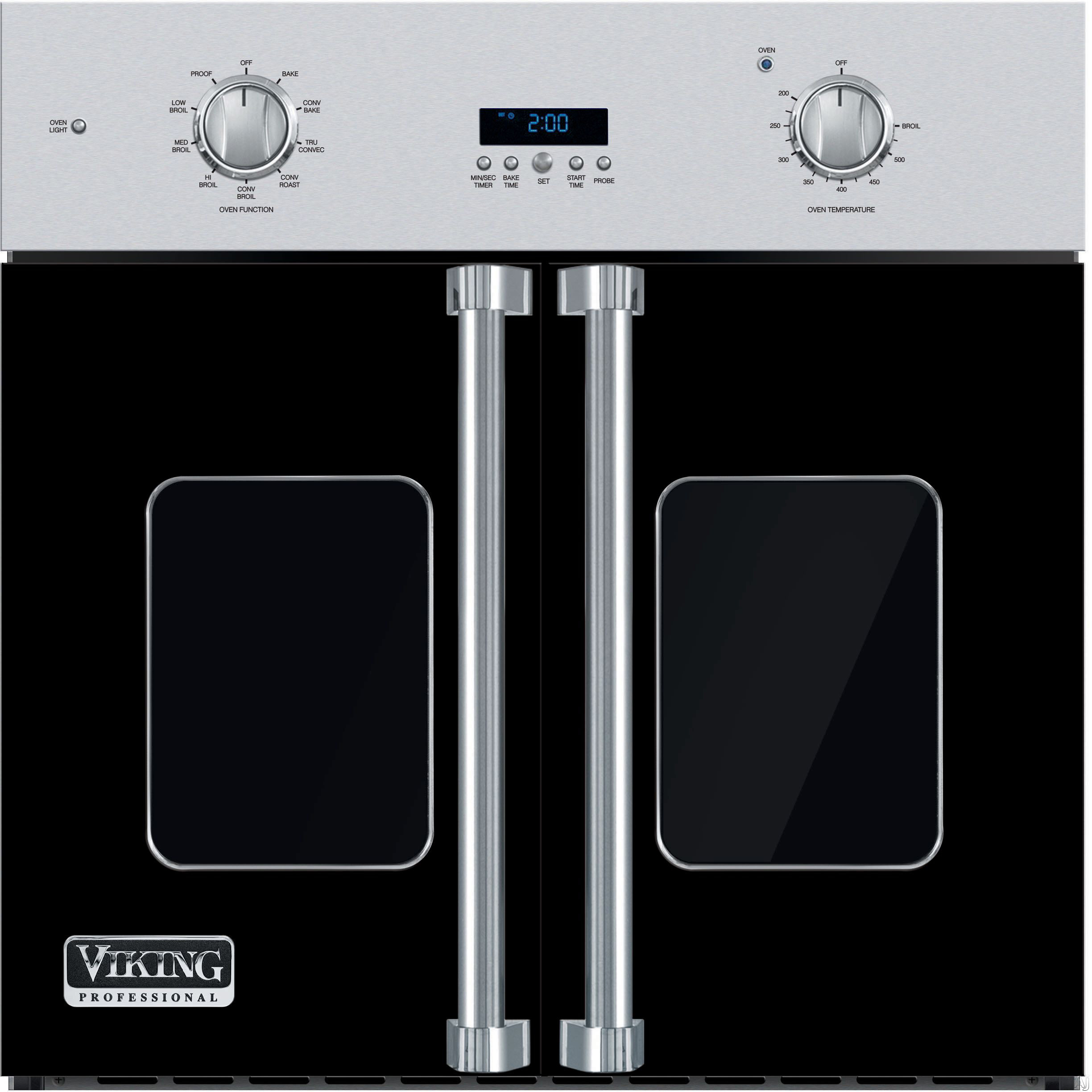 Viking Professional 7 Series VSOF730BK 30 Inch Single French Door Wall Oven with 4.7 cu. ft. Vari-Speed Dual Flow TruConvec Cooking Capacity, Gourmet-Glo Glass Enclosed Infrared Broiler, Rapid Ready P