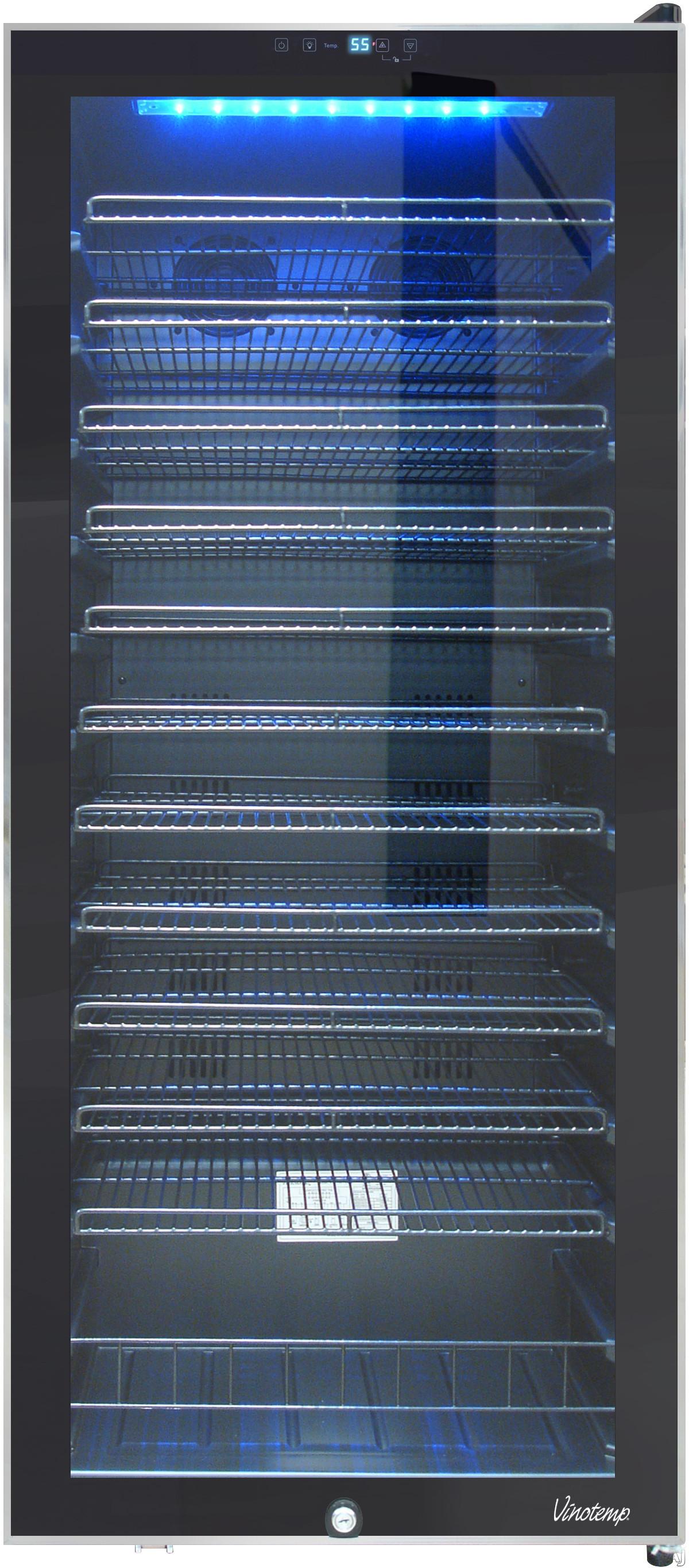 Vinotemp Butler Series VT100TSSB 24 Inch Wine Cooler with 99 Bottle Capacity Interior LED Lighting 11 Shelves Bulk Storage and Door Lock