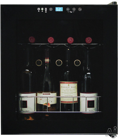 Vinotemp Butler Series VT15TS 17 Inch Freestanding Wine Cooler with 15 Bottle Capacity Wire Racks Control Panel Lock and Touchscreen Controls