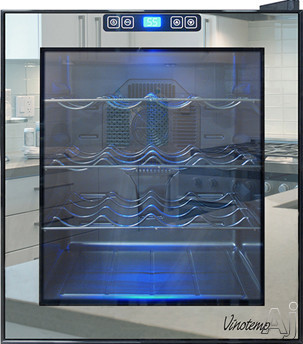 Vinotemp Eco Series VT16TSBM 17 Inch Wine Cooler with 16-Bottle Storage Capacity, 3 Wire Racks, Digital Thermoelectric Temperature Control, Soft Interior Lighting and Double-Paned Glass Door VT16TSBM