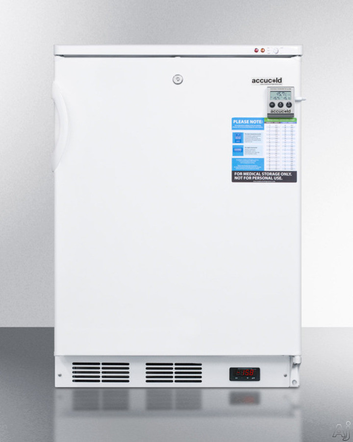 Picture of AccuCold VT65MLBIVAC 24 Inch Undercounter Medical Freezer with NIST Calibrated Display Temperature Alarm Factory-Installed Lock Low Temperature Operation Self-Closing Door Built-In Capable Digital Thermostat 3 Slide-Out Drawers CFC Free and 32 cu ft Capacity White