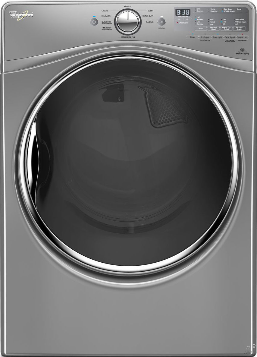 Whirlpool WGD90HEF 27 Inch 7.4 cu. ft. Gas Dryer with 9 Dry Cycles, Advanced Moisture Sensing System, Quad Baffles, Wrinkle Shield, Steam Refresh, Quick Dry, EcoBoost Option, Stainless Steel Drum and ADA Compliant