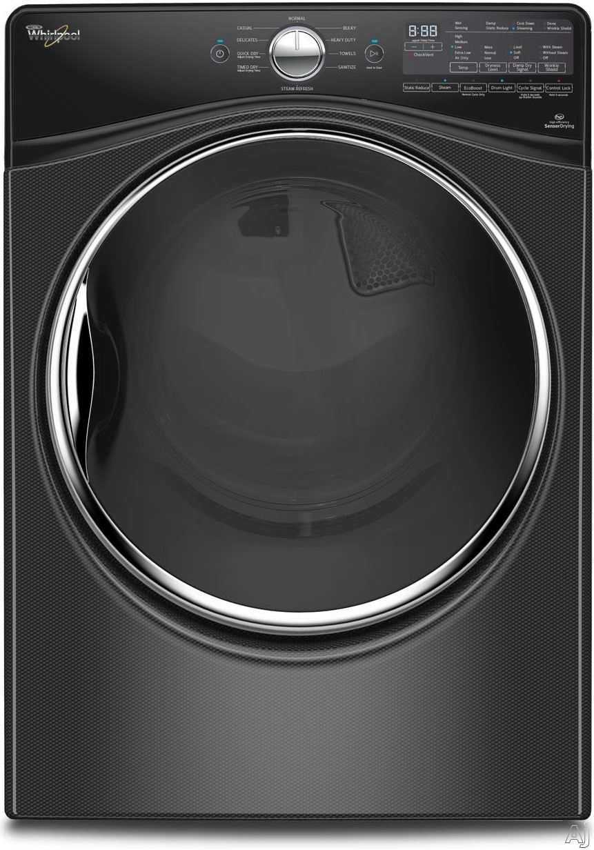 Whirlpool WGD92HEF 27 Inch 7.4 cu. ft. Gas Dryer with Moisture Sensing, Steam Refresh, EcoBoost, 10 Dry Cycles, Stainless Steel Drum, Sound-dampening Technology, Quad Baffles and Wrinkle Shield