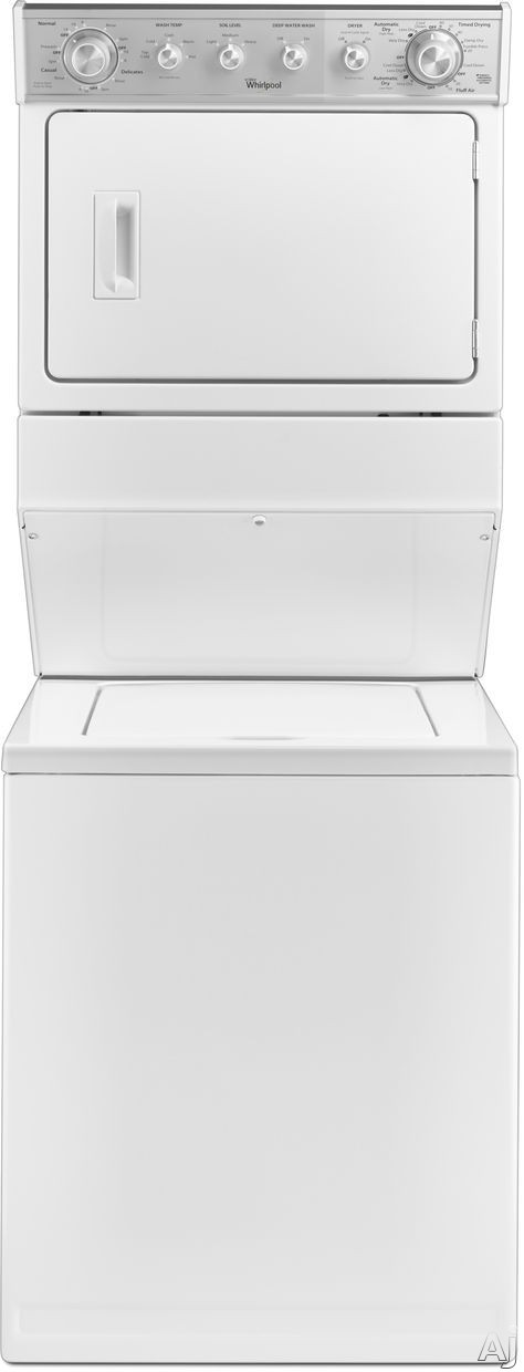Whirlpool WGT4027EW 27 Inch Gas Laundry Center with 2.5 cu. ft. Washer, 8 Wash Cycles, 5.9 cu. ft. Dryer, 6 Dry Cycles, Automatic Bleach and Fabric Softener Dispensers and Wrinkle Shield Drying Option WGT4027EW