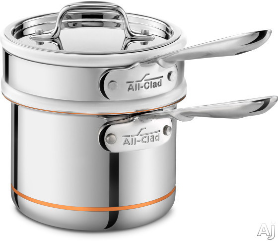 All Clad 62025SS 2-Quart Copper Core Sauce Pan and Porcelain Double Boiler with 5-Ply Stainless Steel, Polished Surface, Stainless Steel Handles, Induction Suitable, Oven Safe, Dishwasher Safe, Limite