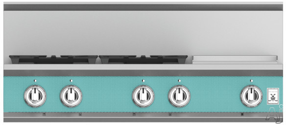 """Hestan KRT364GDLPTQ 36 Inch Rangetop with 4 Sealed Burners, 12 Inch Griddle, Cast-Iron Continuous Grates, Backlit Control Knobs and Marquiseâ""""¢ Control Panel: Natural Gas / Bora Bora"""