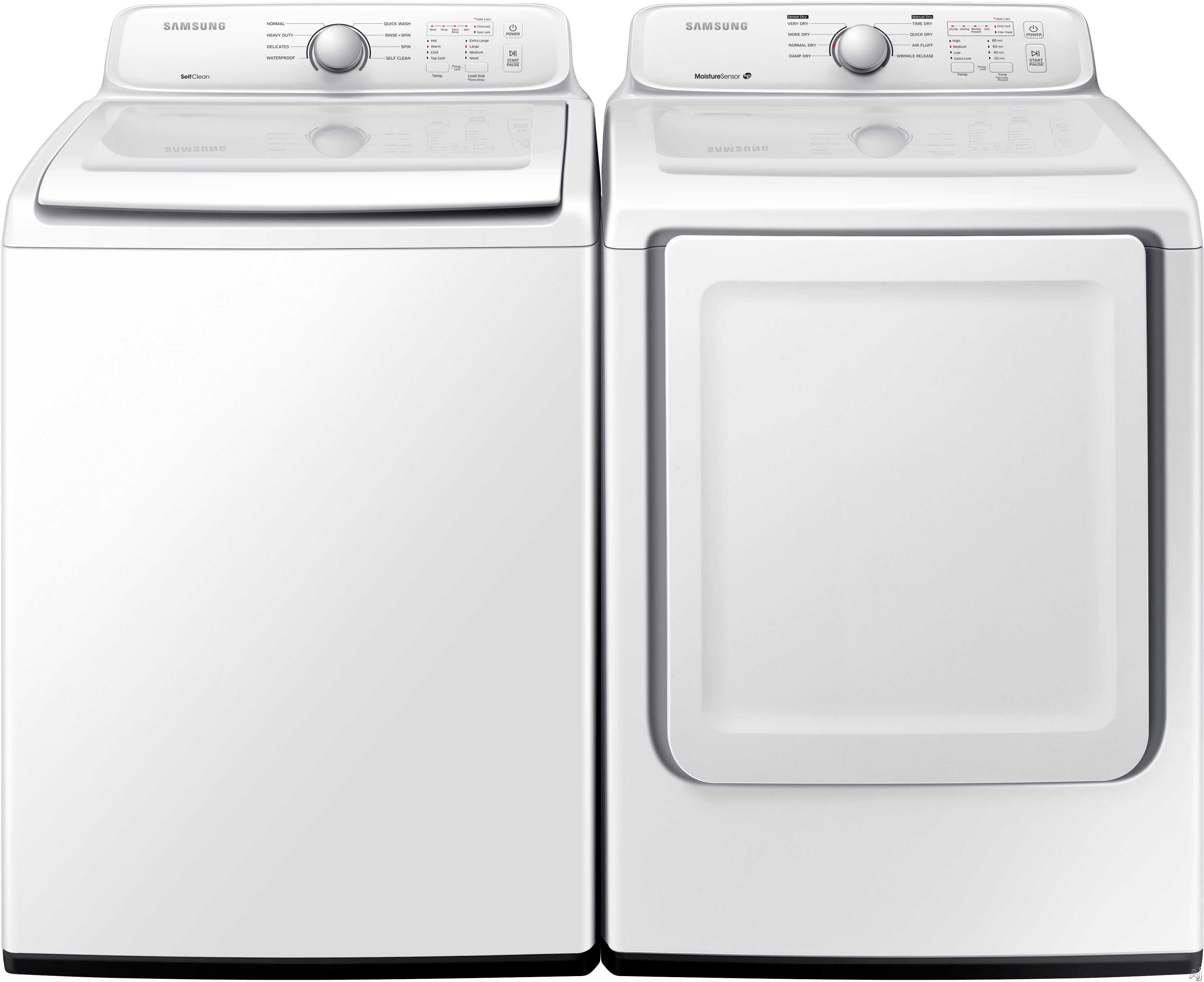 Washer And Dryer Dimensions Front Loading Samsung Sam3000tl Samsung 3000 Series Top Load Washer Dryer Pair