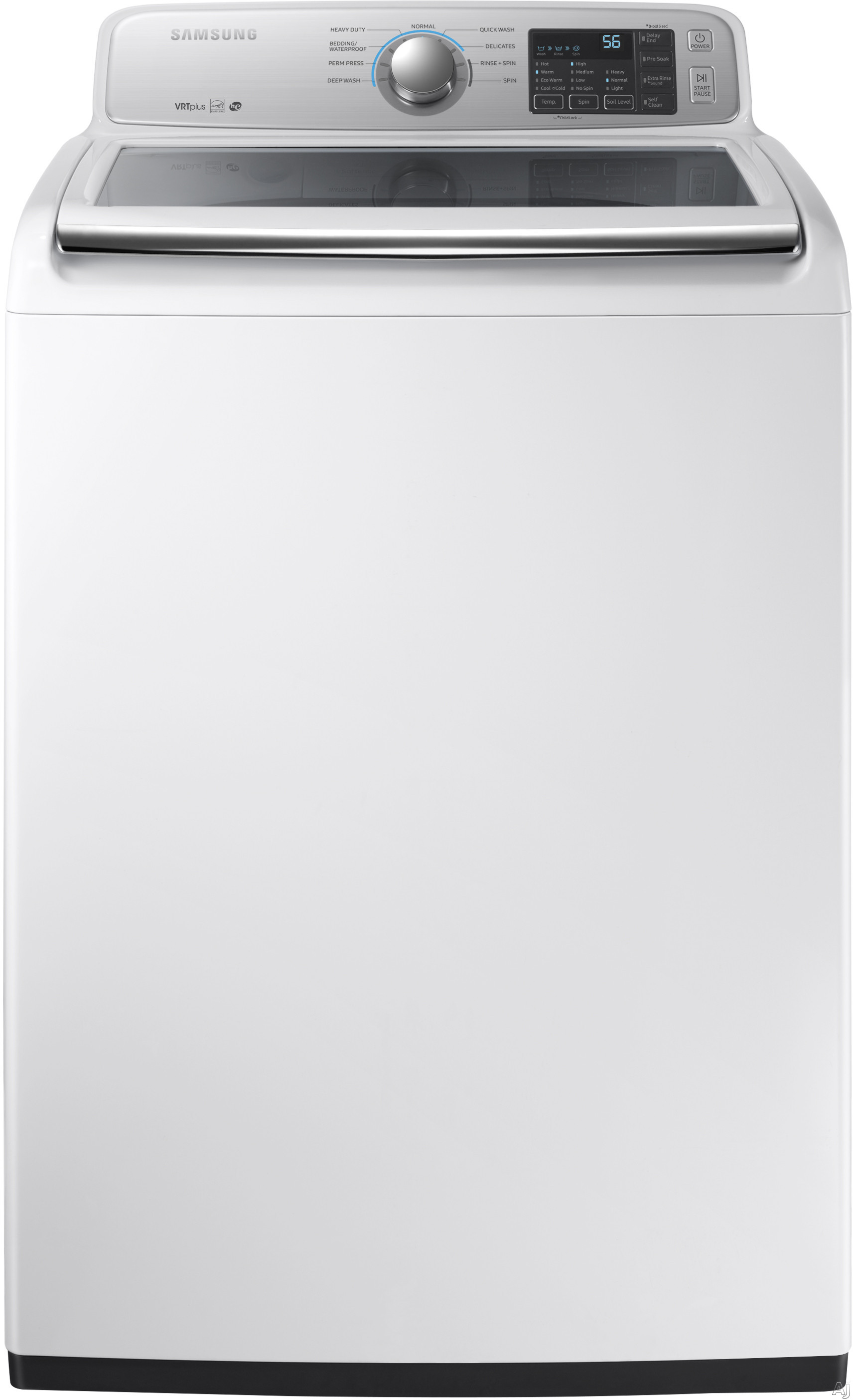 Samsung WA45M7050AW 27 Inch Top Load Washer with Self Clean, Soft-Close Lid, ENERGY STAR®, VRT Plus™ Technology, 3-Tray EZ Drawer Dispenser, 9 Wash Cycles, Quick Wash and 4.5 cu. ft. Capacity WA45M7050AW